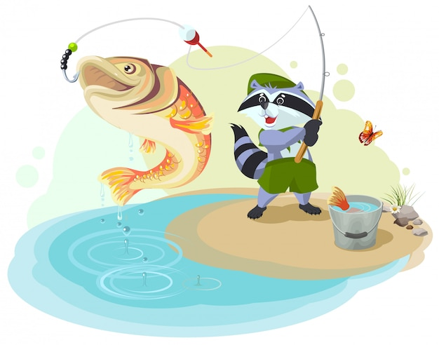 Raccoon scout fishing. fisherman caught big fish