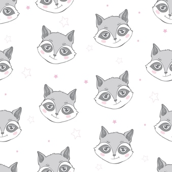 Raccoon seamless pattern in flat style