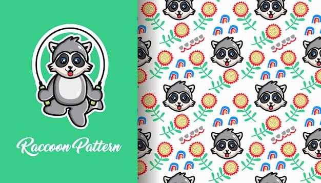 Raccoon seamless pattern