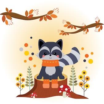 Raccoon Sitting on a Cut Tree