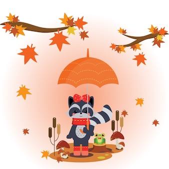 Raccoon standing under umbrella