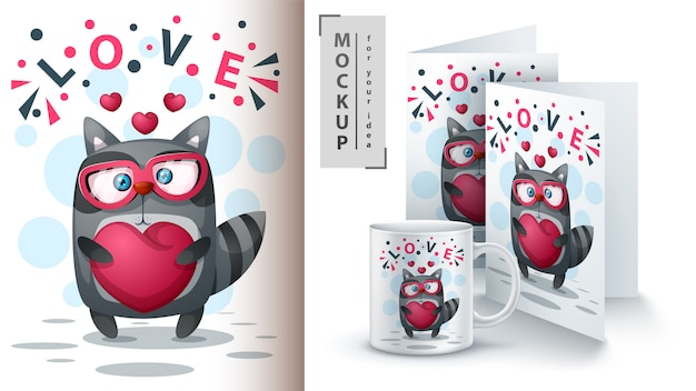 Raccoon with heart poster and merchandising