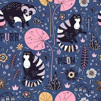 Raccoons and cats with plants and flowers pattern
