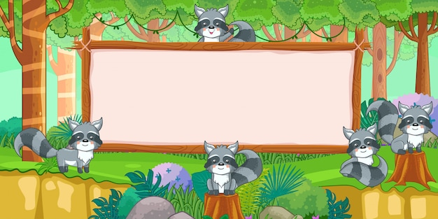 Raccoons with blank sign in forest
