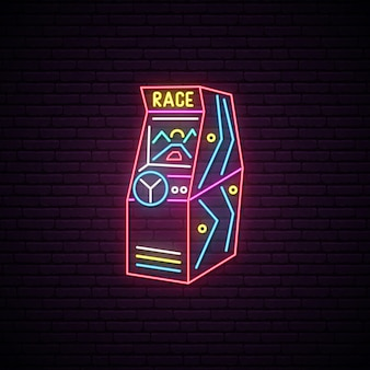 Race arcade game machine neon sign.