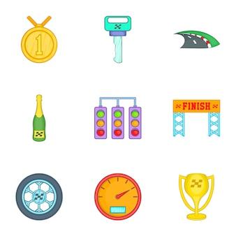 Race and awarding icons set, cartoon style