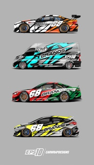 Race car decal set designs
