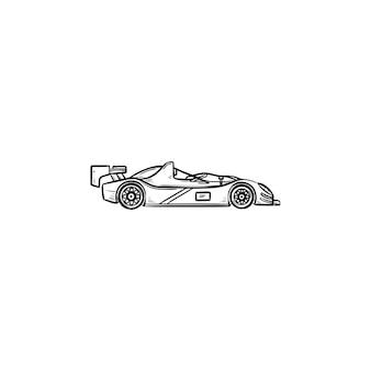 Гоночный автомобиль рисованной наброски каракули значок. гоночные соревнования, скоростной драйв и формула-1, концепция быстрого спортивного автомобиля
