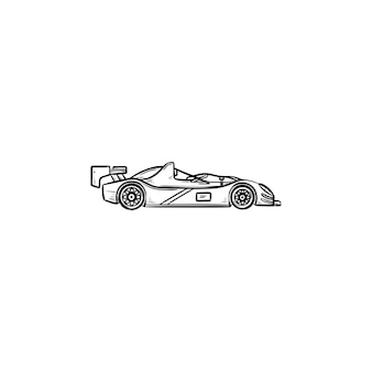 Race car hand drawn outline doodle icon. racing competition,speed drive and formula one, fast sport car concept