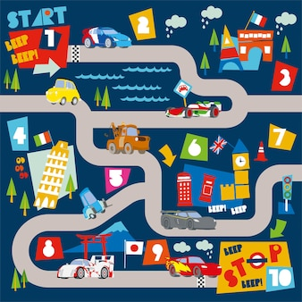 Race car road track maps and learning numbers illustration for kids play mat and roll mat design