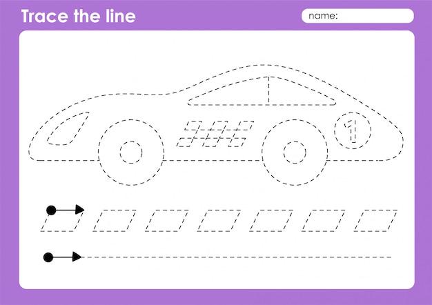 Race car - транспортные линии трассировки дошкольного рабочего листа для детей