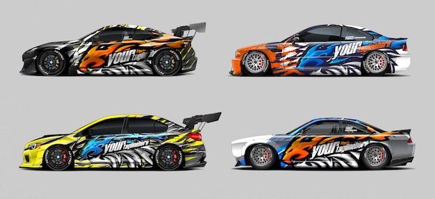 Race car wrap with lion mascot set