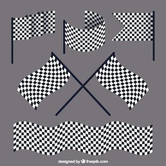 Gara raccolta bandiera a scacchi con design piatto