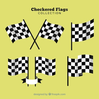 Race checkered flag collection with realistic design