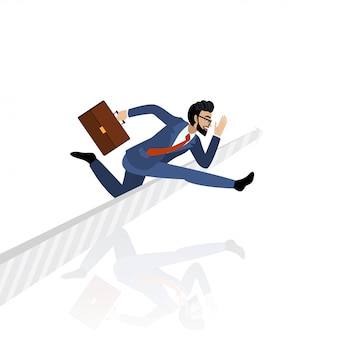 Race concept with a businessman cartoon character jumping over arrow sign