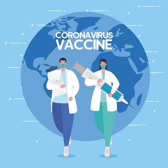 The race between country, for developing coronavirus covid19 vaccine, doctors running and world planet on background illustration