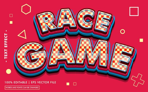 Race game text effect style