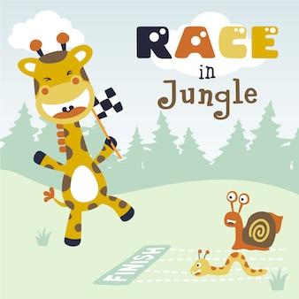 귀여운 동물 만화와 정글에서 경주