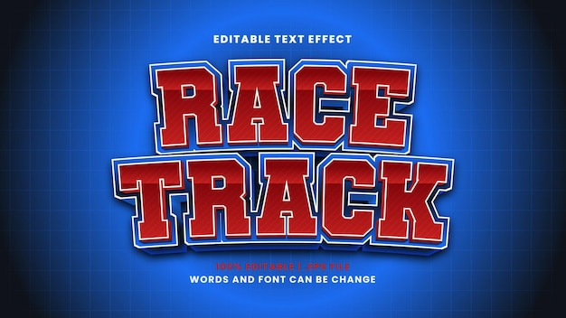 Race track editable text effect in modern 3d style