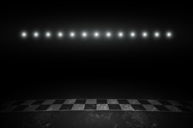 밤에 레이스 트랙 결승선 경주