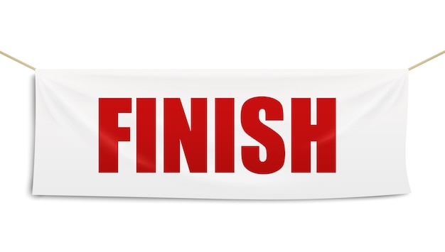 Race track finish line white textile banner with red letters, realistic  illustration template  on white background. competition finishing flag .