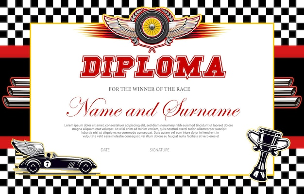 レース優勝者の卒業証書テンプレート。チェッカーフラッグ、翼のある車、ゴブレットとレーシングアワードボーダー