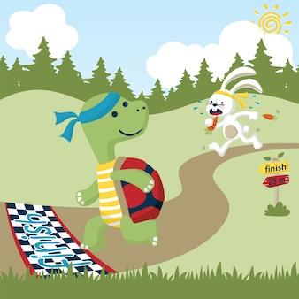 Race with funny animals cartoon
