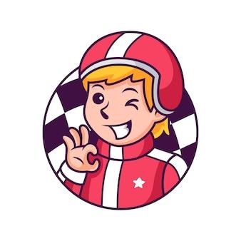Мультяшный гонщик с милой позой. иконка иллюстрация. концепция значок человек изолированные