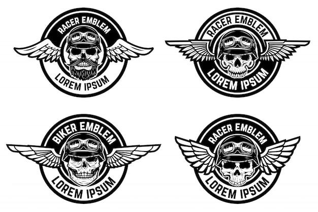 레이서 엠블럼. 두개골과 날개 엠 블 럼 세트 자전거 클럽, 경주 커뮤니티 로고, 라벨, 기호 요소. 삽화