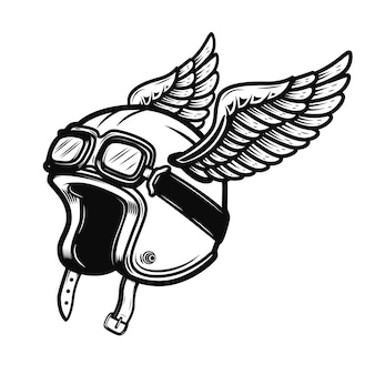 白い背景の上の翼を持つレーサーヘルメット。ポスター、ロゴ、ラベル、エンブレム、記号の要素。図