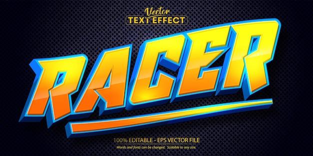 Racer text, cartoon style editable text effect