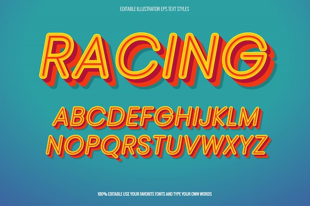 Racer text effect, instant  text effect