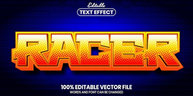 Racer text, font style editable text effect