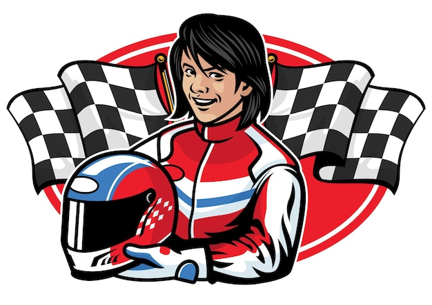 Racer woman design flat illustration