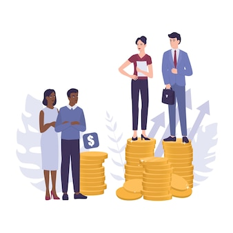 Racim . discrimination and enequal treatment based on race. businessman and businesswoman on piles of coins. inequal payment and career problem of people of colors.