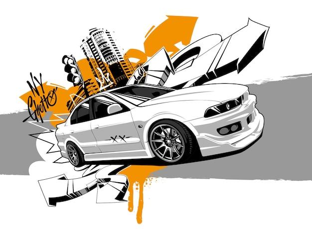 Гоночный автомобиль граффити арт. абстрактные векторные иллюстрации японского дрейфующего автомобиля с элементами уличного искусства.