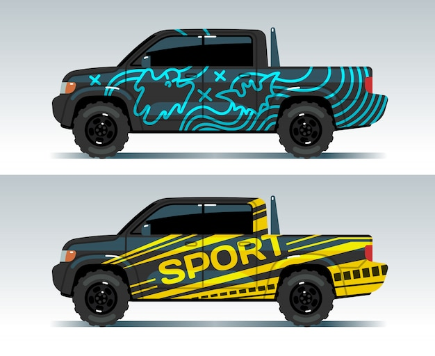Racing car graphic. truck wrapping background. vehicle branding