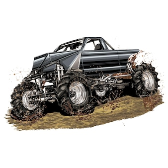 Racing car isolated on white background. monster truck. vector illustration.