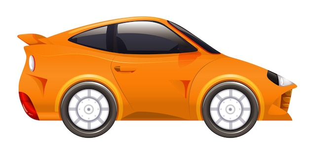 Racing car in orange color on isolated background