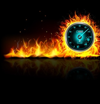 Racing car speedometer burn in fire on black background