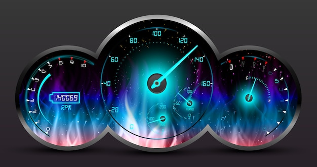 Racing car speedometer with burning fire background