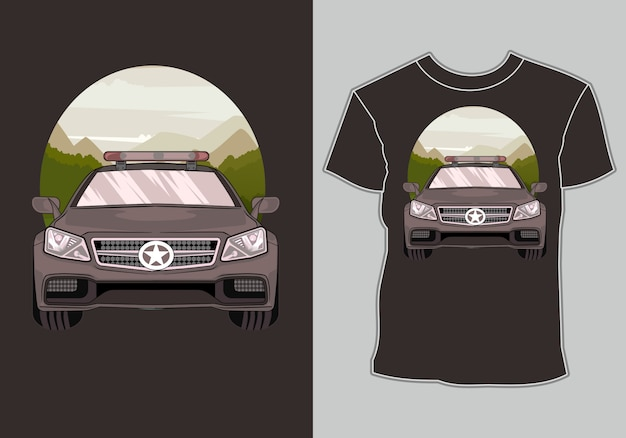 삽화 현대 스포츠 경주 용 차를 가진 경주 용 차 t- 셔츠