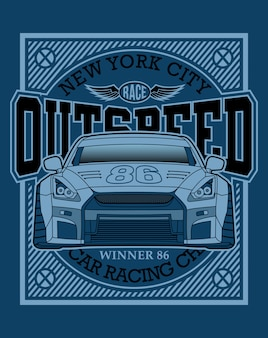 Racing car typography, graphic illustration