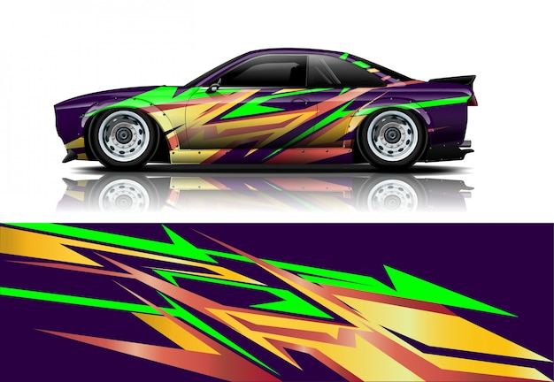 Racing car wrap decal, kit for wrapping all vehicle
