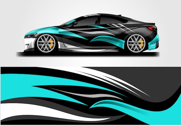Racing car wrap and decal
