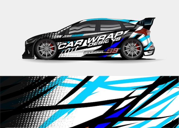 Дизайн упаковки гоночного автомобиля. автомобильная виниловая наклейка и ливрея автомобильной наклейки