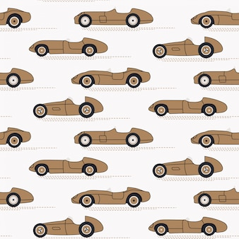 Racing cars seamless vintage pattern