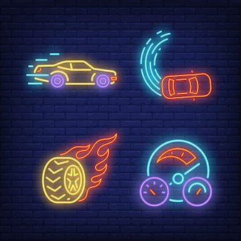 Racing cars, wheel on fire and speedometer neon signs set