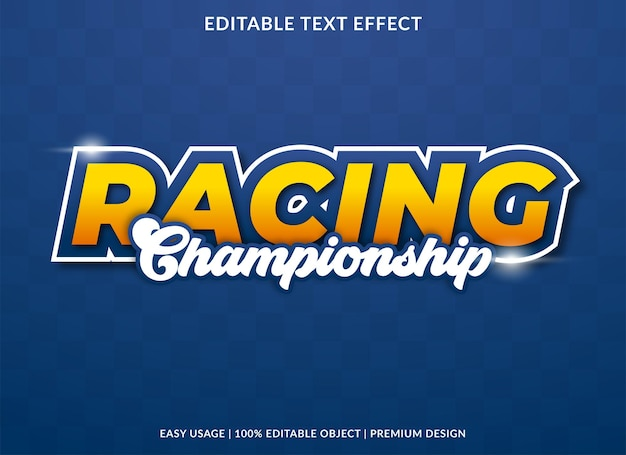 Racing championship text effect design with bold style