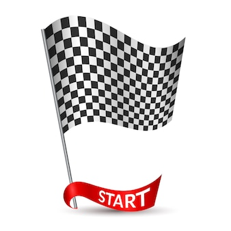 Racing checkered flag with red ribbon start